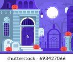halloween ghost house scene... | Shutterstock .eps vector #693427066