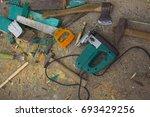 joiner's tools set. real work... | Shutterstock . vector #693429256