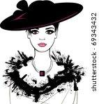 retro girl in the black hat | Shutterstock .eps vector #69343432