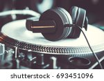 dj headphones with powerful... | Shutterstock . vector #693451096