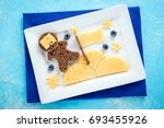 funny toast with cheese and... | Shutterstock . vector #693455926