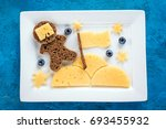 funny toast with cheese and...   Shutterstock . vector #693455932