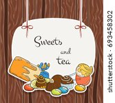 sweet banner. candy labels on... | Shutterstock .eps vector #693458302