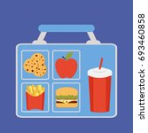 lunchbox with apple  coockies ... | Shutterstock .eps vector #693460858