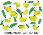 pattern of bananas with leaf | Shutterstock .eps vector #693464182