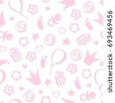 birthday girl seamless vector... | Shutterstock .eps vector #693469456