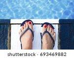 female feet with flip flops... | Shutterstock . vector #693469882