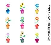 cute flower pot on white... | Shutterstock .eps vector #693481228