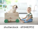 cute child and labrador... | Shutterstock . vector #693483952