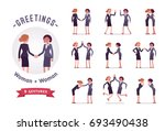 businesswomen greeting ... | Shutterstock .eps vector #693490438