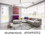 bright modern living room with... | Shutterstock . vector #693493552