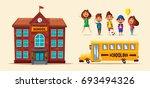 back to school. children on the ...   Shutterstock .eps vector #693494326