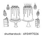 vector sketch of trendy cakes... | Shutterstock .eps vector #693497026