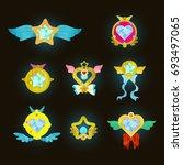 cute fantasy decorative... | Shutterstock .eps vector #693497065