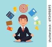 businessman meditating in lotus ... | Shutterstock .eps vector #693498895
