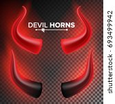 devils horns vector. red... | Shutterstock .eps vector #693499942