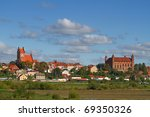 Gniew town with teutonic castle at Wierzyca river, Poland - stock photo