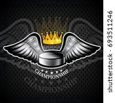 hockey puck with wings and...   Shutterstock .eps vector #693511246