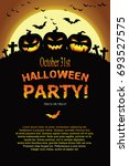 halloween invitation. vector... | Shutterstock .eps vector #693527575