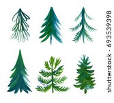 set of watercolor xmas trees | Shutterstock . vector #693539398
