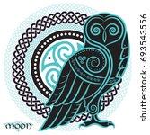 owl in celtic style  on the... | Shutterstock .eps vector #693543556