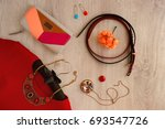 red dress and accessories.... | Shutterstock . vector #693547726