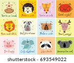 vector cards with cute animals... | Shutterstock .eps vector #693549022