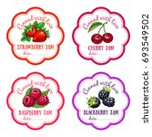 labels with hand drawn fruits...   Shutterstock .eps vector #693549502