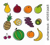 fruits icons | Shutterstock .eps vector #693551665