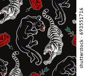 seamless pattern with wild cats ... | Shutterstock .eps vector #693551716