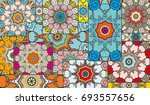 vector patchwork quilt pattern. ... | Shutterstock .eps vector #693557656