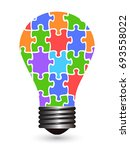 light bulb puzzles | Shutterstock .eps vector #693558022