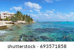 crystal clear water in bay... | Shutterstock . vector #693571858