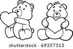 Teddy Bear Hugging Heart  Black ...