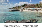 crystal clear water in bay... | Shutterstock . vector #693573802