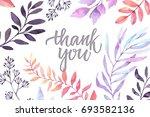 hand drawn watercolor... | Shutterstock . vector #693582136