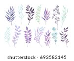 hand drawn watercolor... | Shutterstock . vector #693582145