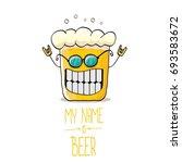 vector cartoon funky beer glass ... | Shutterstock .eps vector #693583672