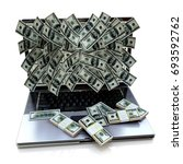 money pouring out from laptop... | Shutterstock . vector #693592762