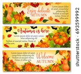 autumn welcome banner with... | Shutterstock .eps vector #693599992