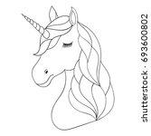 head of hand drawn unicorn on