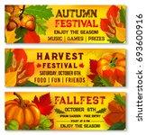 autumn harvest festival banners ... | Shutterstock .eps vector #693600916