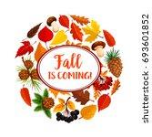 hello autumn poster of fallen... | Shutterstock .eps vector #693601852
