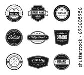 vintage style brand badges   Shutterstock .eps vector #693605956