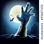 zombie hand halloween | Shutterstock .eps vector #693607102