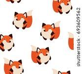 fox in cartoon style. seamless...   Shutterstock .eps vector #693609562