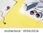 summer yellow cosmetics flat...   Shutterstock . vector #693613216
