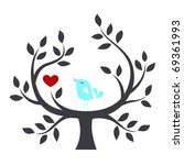 bird in a tree with love | Shutterstock .eps vector #69361993