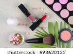cosmetics top view on a... | Shutterstock . vector #693620122