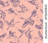 single line birds drawing... | Shutterstock .eps vector #693620842